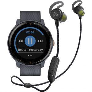 Garmin Vivoactive 3 Music Blauw/Rosegoud + Jaybird Tarah Pro Wireless Sport Oordopjes