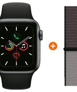 Apple Watch Series 5 44mm Space Gray Zwarte Sportband + Nylon Sport Loop Anchor Gray
