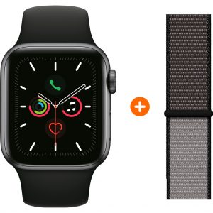 Apple Watch Series 5 44mm Space Gray Zwarte Sportband + Nylon Sport Loop Anchor Gray