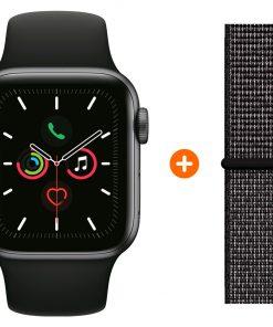 Apple Watch Series 5 44mm Space Gray Zwarte Sportband + Nylon Sport Loop Zwart