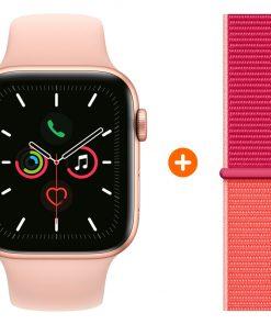 Apple Watch Series 5 44 mm Goud Roze Sportband + Nylon Sport Loop Pomegranate