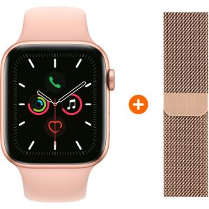 Apple Watch Series 5 44 mm Goud Roze Sportband + Polsband Milanees Goud