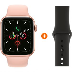Apple Watch Series 5 44 mm Goud Roze Sportband + Zwarte Siliconen Sportband
