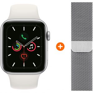 Apple Watch Series 5 44mm Zilver Witte Sportband + Polsband Milanees Zilver