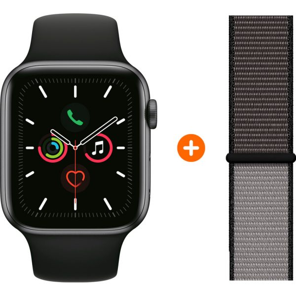 Apple Watch Series 5 40mm Space Gray Zwarte Sportband + Nylon Sport Loop Anchor Gray
