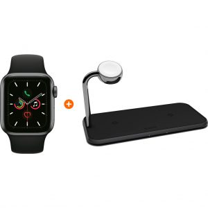 Apple Watch Series 5 44mm Space Gray Zwarte Sportband + ZENS Draadloze Oplader 10W Zwart
