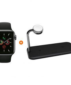 Apple Watch Series 5 40mm Space Gray Zwarte Sportband + ZENS Draadloze Oplader 10W Zwart