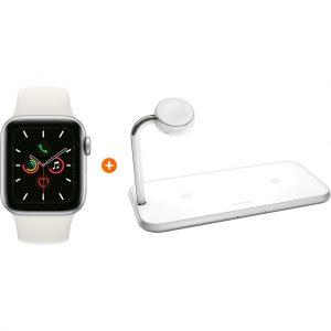 Apple Watch Series 5 44mm Zilver Witte Sportband + ZENS Draadloze Oplader 10W Wit