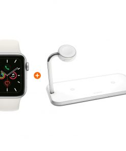 Apple Watch Series 5 40mm Zilver Witte Sportband + ZENS Draadloze Oplader 10W Wit