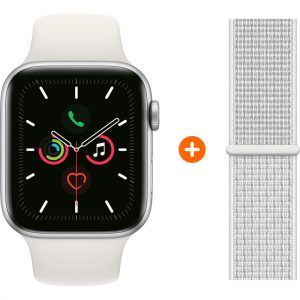 Apple Watch Series 5 40mm Zilver Witte Sportband + Nylon Sport Loop Summit White