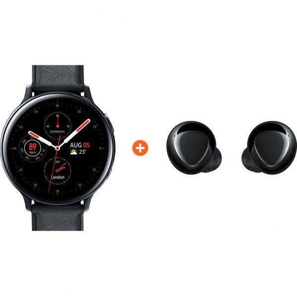 Samsung Galaxy Watch Active2 Zwart 44 mm RVS + Galaxy Buds Plus Zwart