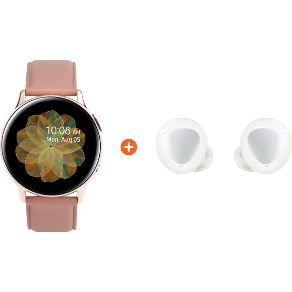 Samsung Galaxy Watch Active2 Rosé Goud 40 mm RVS + Galaxy Buds Plus Wit