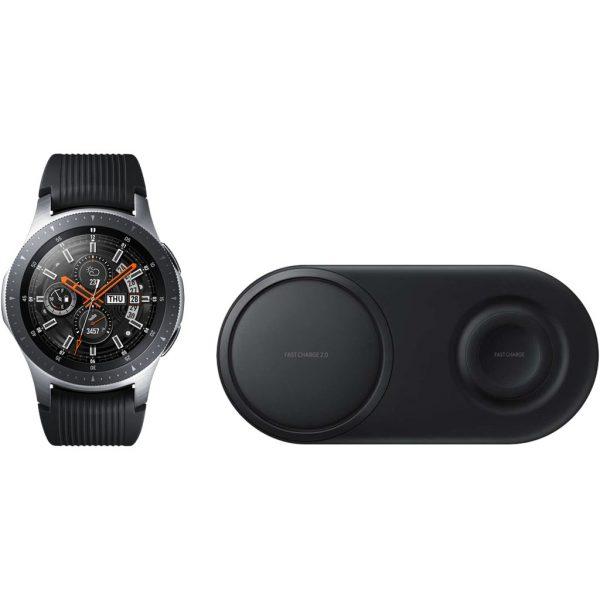 Samsung Galaxy Watch 46mm Silver + Samsung Draadloze Oplader DUO Pad Zwart