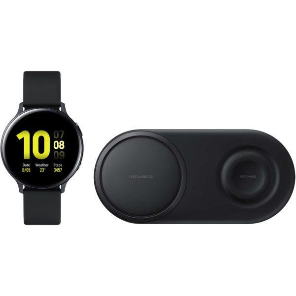 Samsung Galaxy Watch Active2 Zwart 40 mm + Samsung Draadloze Oplader DUO Pad Zwart