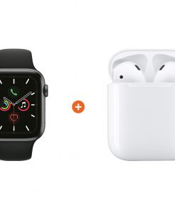Apple Watch Series 5 44mm Space Gray Zwarte Sportband + Apple AirPods 2