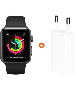 Apple Watch Series 3 38mm Space Gray Aluminium/Zwart + Apple USB Power Adapter