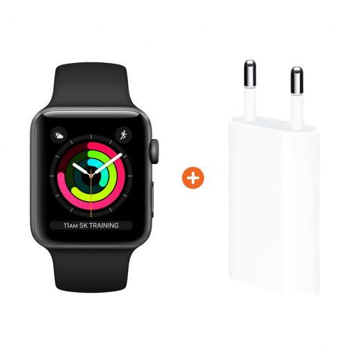 Apple Watch Series 3 38mm Space Gray Aluminium/Zwart + Apple USB Power Adapter
