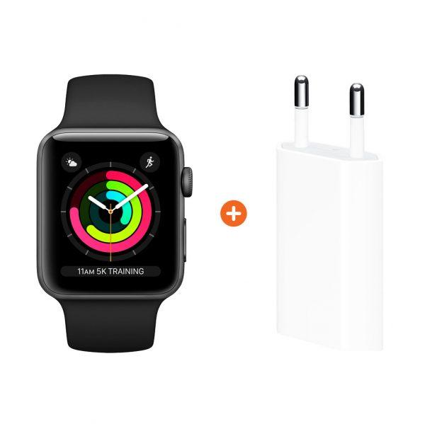Apple Watch Series 3 42mm Space Gray Aluminium/Zwart + Apple USB Power Adapter