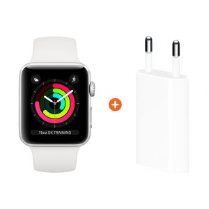 Apple Watch Series 3 38mm Silver Aluminium/Wit + Apple USB Power Adapter