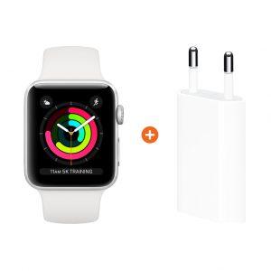 Apple Watch Series 3 42mm Silver Aluminium/Wit + Apple USB Power Adapter
