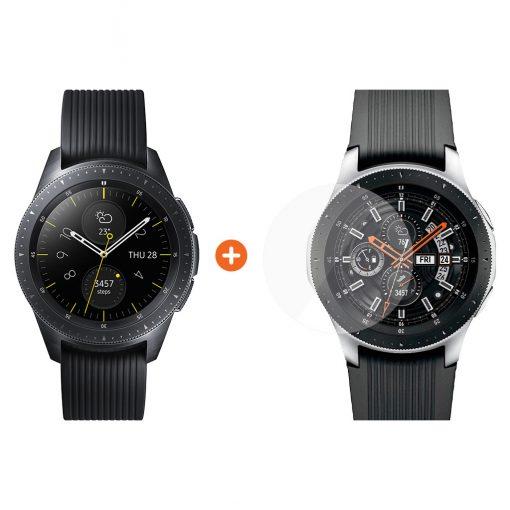Samsung Galaxy Watch 42mm Midnight Black + PanzerGlass Screenprotector Glas