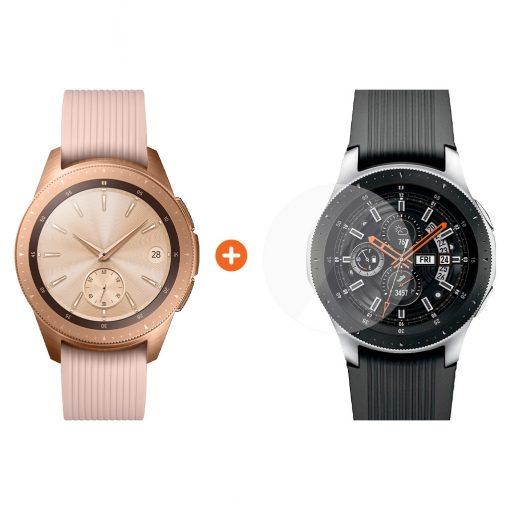 Samsung Galaxy Watch 42mm Rose Gold + PanzerGlass Screenprotector Glas