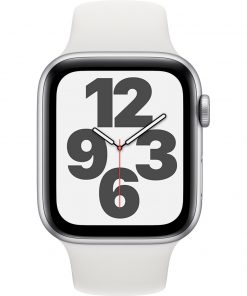 Apple Watch SE 44mm Zilver Aluminium Witte Sportband