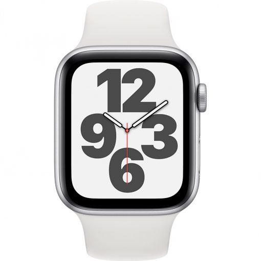 Apple Watch SE 44mm Zilver Aluminium Witte Sportband