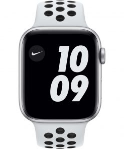 Apple Watch Nike Series 6 44mm Zilver Aluminium Witte Sportband
