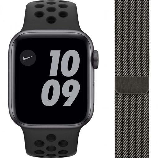 Apple Watch Nike Series 6 40mm Space Gray Aluminium Zwarte Sportband + Milanees Grafiet