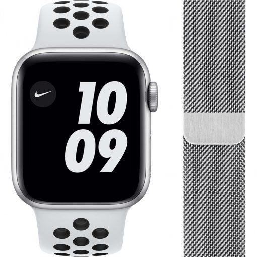 Apple Watch Nike Series 6 40mm Zilver Aluminium Witte Sportband + Polsband Milanees Zilver