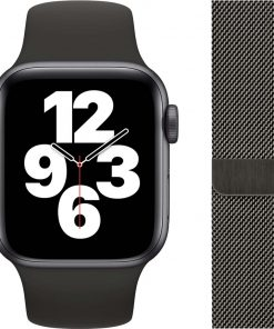 Apple Watch SE 40mm Space Gray Aluminium Zwarte Sportband + Polsband Milanees Grafiet