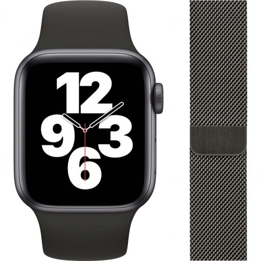 Apple Watch SE 40mm Space Gray Aluminium Zwarte Sportband + Polsband Milanees Grafiet