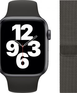 Apple Watch SE 44mm Space Gray Aluminium Zwarte Sportband + Polsband Milanees Grafiet