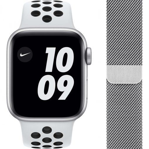 Apple Watch Nike SE 40mm Zilver Aluminium Witte Sportband + Polsband Milanees Zilver