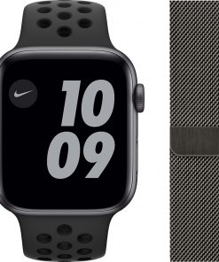 Apple Watch Nike SE 44mm Space Gray Aluminium Zwarte Sportband + Polsband Milanees Grafiet