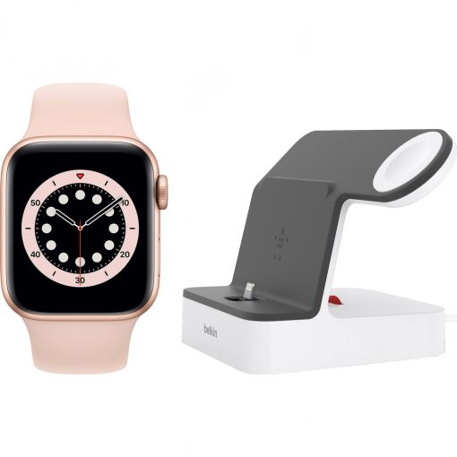 Apple Watch Series 6 40mm Roségoud Roze Sportband + Belkin Docking Station Wit