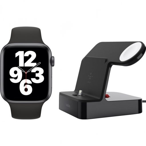 Apple Watch SE 44mm Space Gray Zwarte Sportband + Belkin Docking Station Zwart