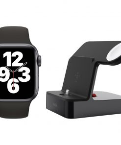 Apple Watch SE 40mm Space Gray Zwarte Sportband + Belkin Docking Station Zwart