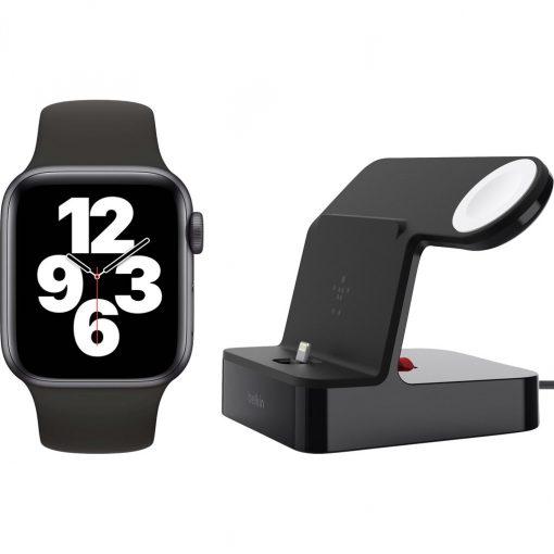 Apple Watch SE 40mm Space Gray Zwarte Sportband + Belkin Docking Station Zwart